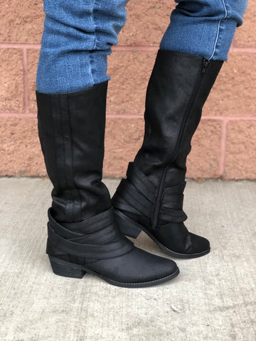 "Not Rated ""Grover"" Black Tall Boots"
