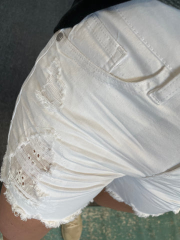 "Judy Blue ""Lace Patch"" White Destroyed Shorts"