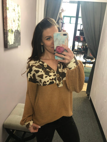 Waffle Knit Long Sleeve With Cow Print