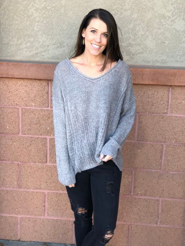 Heather Grey Ribbed Knit Sweater