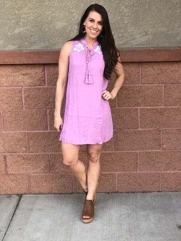 Purple Embroidered Short Dress