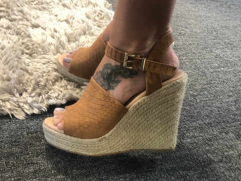 Buckled Snake Skin Peep Toe Wedge