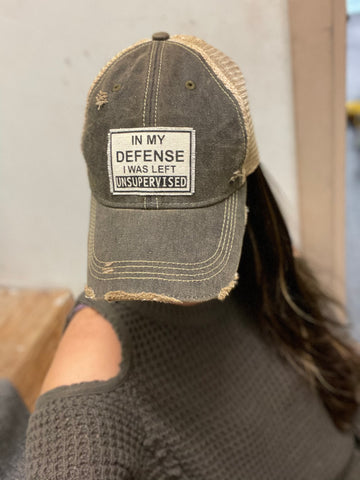 """In My Defense"" Distressed Cap"