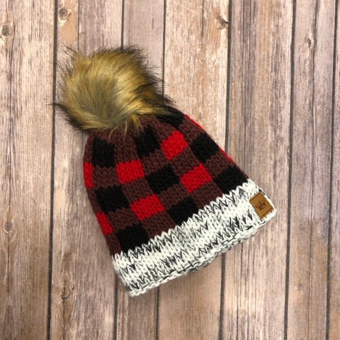 Kids Buffalo Plaid Hat with Fur Pom