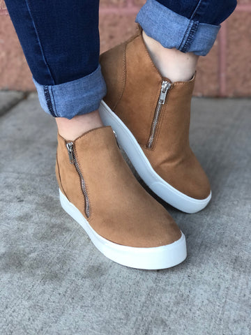 Camel Hidden Wedge Booties
