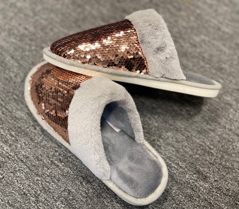 Faux Fur Sequin Slippers