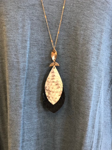 Snake Skin Double Layer Feather Necklace