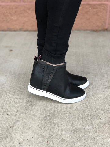 Black Suede Wedge Sneakers