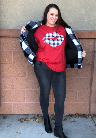 Red Buffalo Plaid Lips Graphic Tee