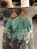 Leather Fringed Dangle Earrings