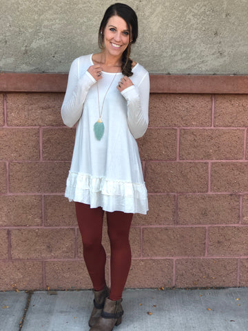White Ruffle Long Sleeve