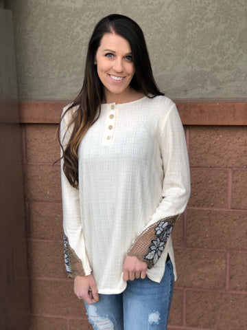 Ivory Button Up Crochet Trim Long Sleeve