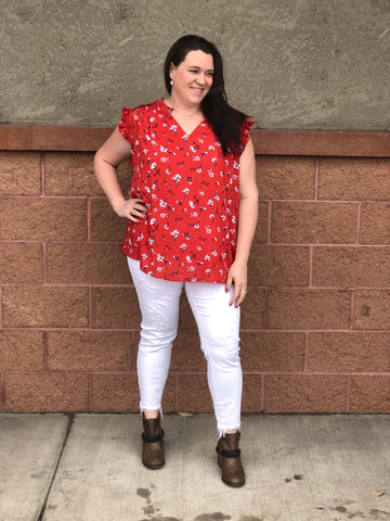 Red & Floral Ruffle Short Sleeve