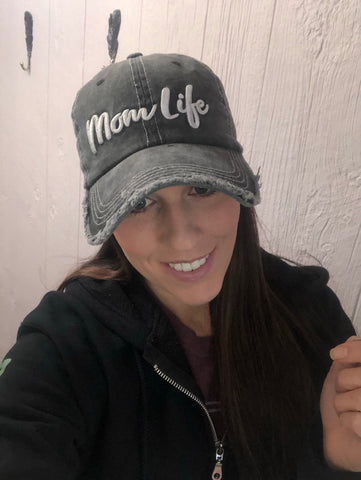 "Vintage ""Mom Life"" Embroidered Ball Cap"