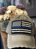 Distressed American Flag Embroidered Cap