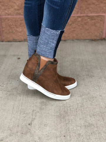 Taupe Suede Wedge Sneakers