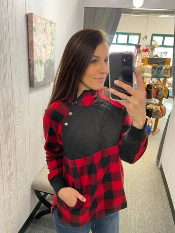 Red & Black Plaid Fleece Pullover