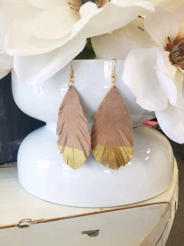 Leather Leaf Earrings with Gold Accent