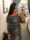 Blue Camo Long Sleeve with Neon Accents