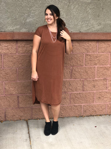 Brown Slinky Midi Dress