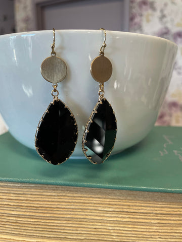 Dangling Earrings with Leaf Glass Stone