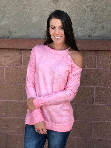 Mineral Wash Long Sleeve With One Cold Shoulder