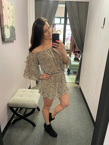 Leopard Print Off the Shoulder Romper