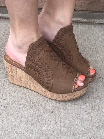 Not Rated Tan Peep Toe Wedge
