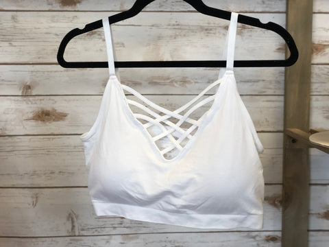 Front Lattice Padded Bralette-CURVE