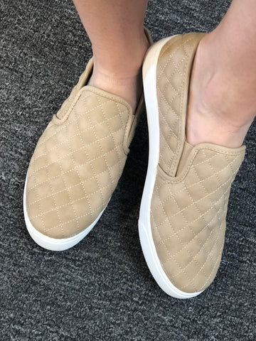 Taupe Quilted Slip On Sneaker