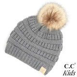 C.C Kids Knit Beanie with Fur Pom