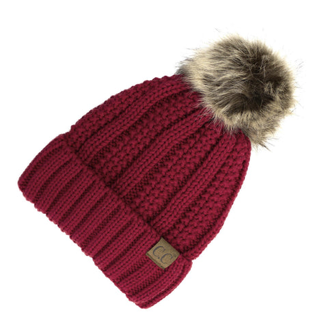 C.C Cable Knit Beanie with Fur Pom