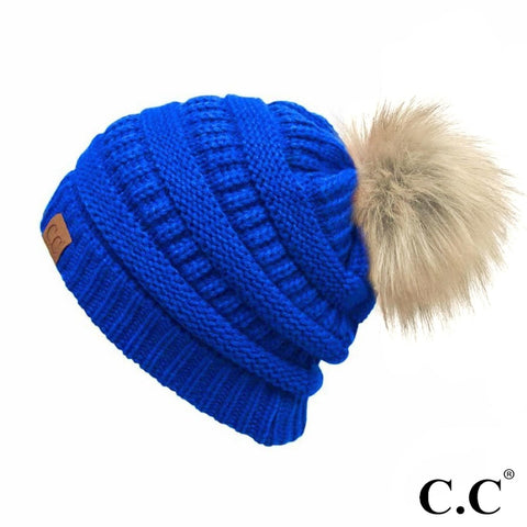C.C Knit Beanie with Fur Pom Pom