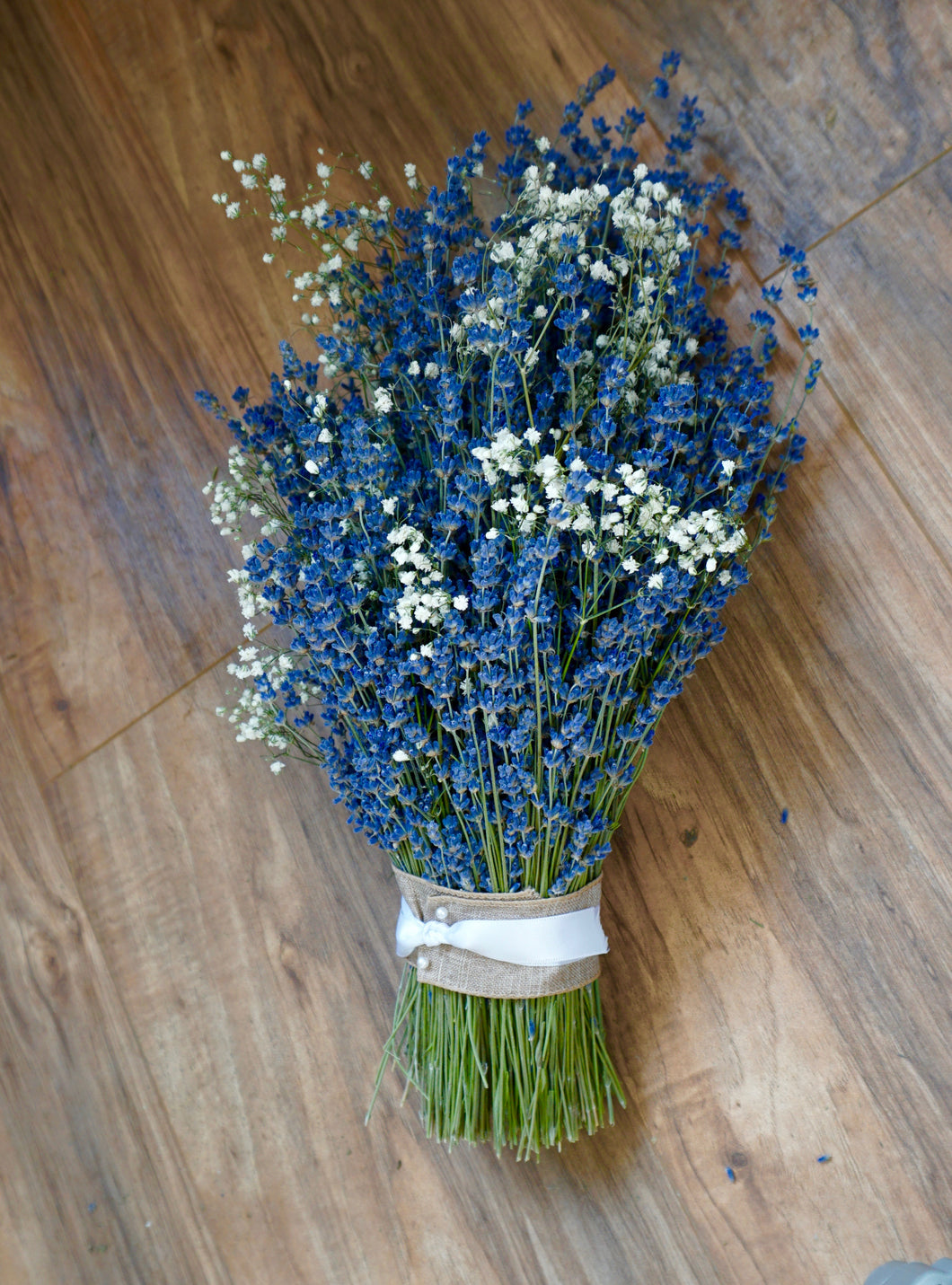 Bridal Bouquets - Dried Lavender with Baby's Breath - Deep Colors, Beautiful & Fragrant - Lavender Wedding Co