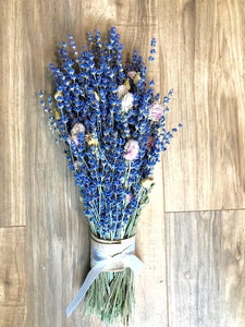 Lavender Spring Bridal Bouquet -  Real Dried Lavender Sprinkled with Spring - Deep Colors, Beautiful & Fragrant - Lavender Wedding Co