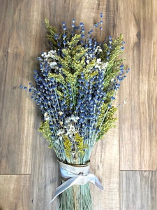 Lavender Wild Flower Bridal Bouquet -  Real Dried Lavender Mixed with Wild Flowers - Deep Colors, Beautiful & Fragrant - Lavender Wedding Co