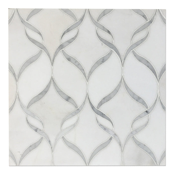 Ribbon_Pattern_Polished_Thassos_White_Carrara_Marble_Waterjet_Mosaic_Tile_01