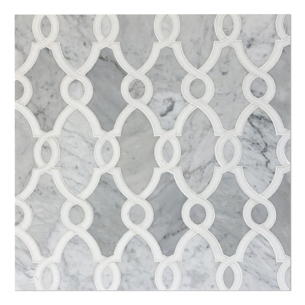Bellagio_Polished_Carrara_White_Thassos_Marble_Waterjet_Mosaic_Tile_Buys_Barnwood_19