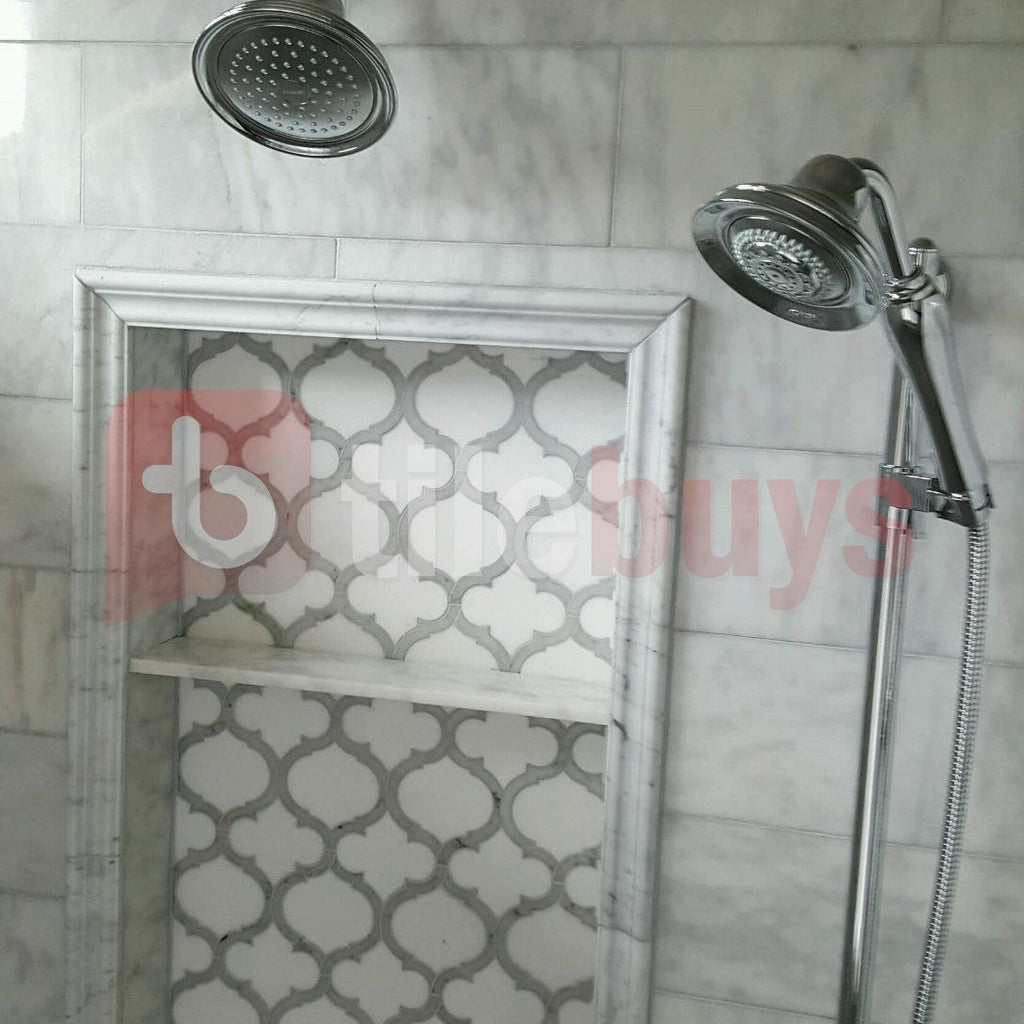 Marrakech_Arabesque_Thassos_White_Carrara_Marble_Waterjet_Mosaic_Tile_Buys_Shower_Niche_01