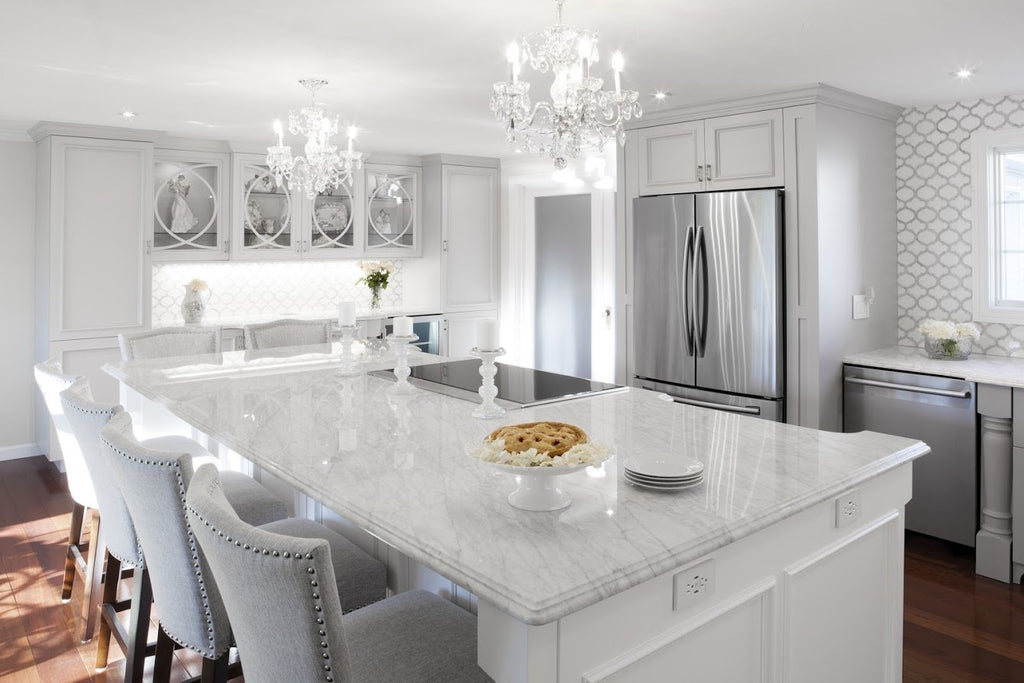 Marrakech_Arabesque_Thassos_White_Carrara_Marble_Waterjet_Mosaic_Tile_Buys_Backsplash_kitchen_island_01