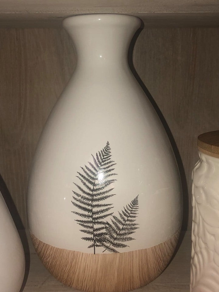 Ceramic Vase with Fern and Painted Wood - 8 inch