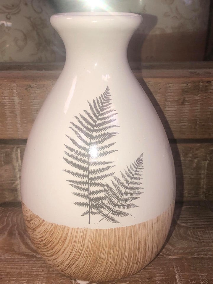 Ceramic Vase with Fern and Painted Wood - 6.5 inch