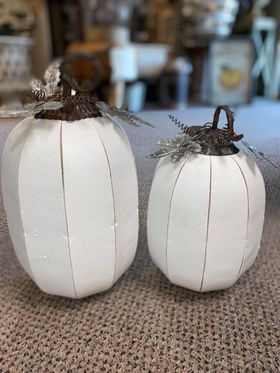 Leather White Pumpkin with metal leaves - small