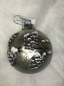 "Silver 4"" Glass Ball Ornament with pine cones"