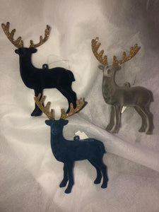 Flocked Deer ornaments, 3 colors