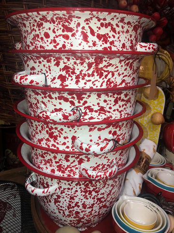 Red and White Enameled deep bowl