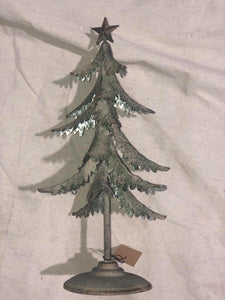 Green Metal  Christmas Tree, distressed