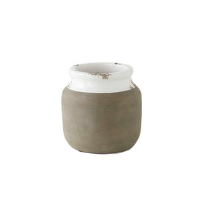 White Ceramic Pot with cement detail - small