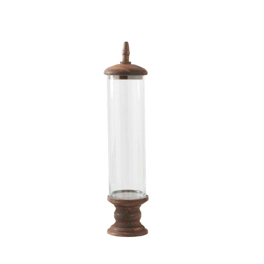 Glass Cylinder with brown wood base - Medium