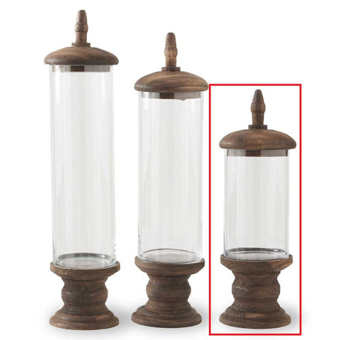 Glass Cylinder with brown wood base - Small